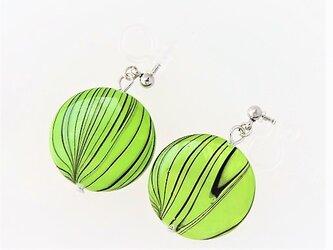 【ノンホールピアス】丸型・新緑柄・シンプル・シェル・銀♪の画像
