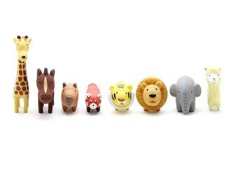 動物フィギュア/ミニチュア アニマルセット(ライオン、象、虎、アルパカ、麒麟、馬、カピバラ、レッサーパンダ)の画像