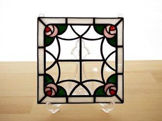 ステンドグラス ミニパネル ローズガーデン 15cmの画像