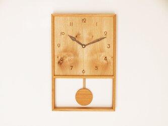 木製 箱型 振り子時計 ケヤキ材13の画像