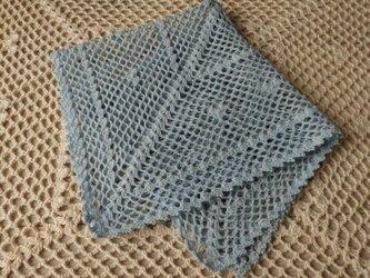 【受注制作:レース編みの飾りハンカチーフ・水】の画像