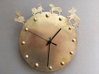 *受注制作*ブレーメンの音楽隊の時計 真鍮の画像