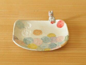 ※N様専用画面 粉引きうさぎ付きカラフルドットスクエアケーキ皿の画像