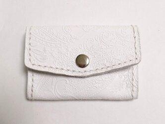 本革 ホワイト 型押しレザー コインケース カードケース 小銭入れ 手縫いの画像