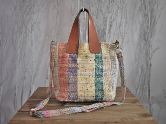 手織り 革取っ手トートバッグ 2wayの画像