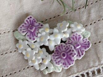 紫陽花 陶器ブローチ ハートの花リース(スペイン陶土)の画像