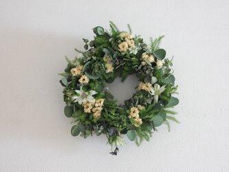 グリーンのバラとミニバラのリースの画像