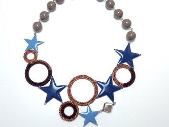 編みシリーズ 星&サークルモチーフのBigプレートネックレスの画像