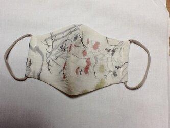 麻 白地に小花模様のマスクの画像