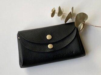 【ブラック】牛革のコロンとかわいい小さなお財布 の画像