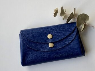 【ブルー】牛革のコロンとかわいい小さなお財布 の画像