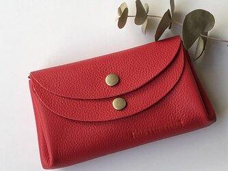 【レッド】牛革のコロンとかわいい小さなお財布 の画像