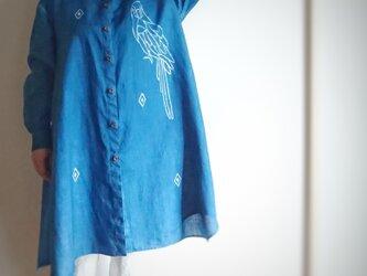 本藍染*リネンのロングシャツ*ろうけつ染め*1点ものの画像