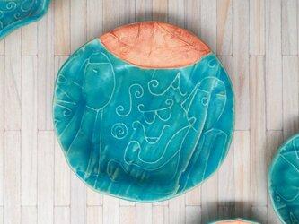 明るく、楽しく、美味しく!トルコマット取り皿1 ターコイズブルーの画像