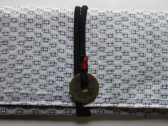 4855 白絣で作った和風財布・ポーチ #送料無料の画像