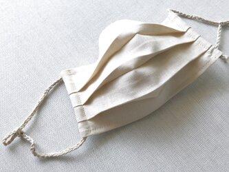 リネン★生成り2★プリーツマスク(ノーズワイヤーポケット、フィルターポケット付き) 大人Mサイズの画像