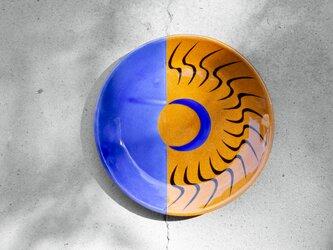 飴釉×コバルト 六寸皿(19.5cm) MOONの画像
