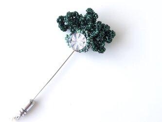 編みモチーフ ラメ糸&ミラーパーツのハットピン(グリーン)の画像