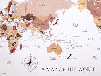 寄木風木目調のおしゃれな世界地図ポスターB2の画像