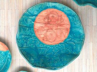 明るく、楽しく、美味しく!トルコマット大皿6 ターコイズブルーの画像
