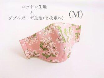 横顔キレイなガーゼ立体マスク*Mサイズ*(桃色花柄・5重ガーゼ)の画像