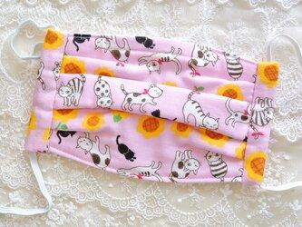 無香料● 猫ちゃん柄・ガーゼマスク♪ ピンク・大人用・綿100%・ネコの画像