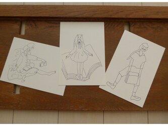 【大人のぬり絵】BOOKガールx3枚セット(ポストカード)の画像