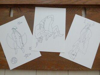 【大人のぬり絵】ガールx3枚セット(ポストカード)の画像