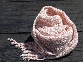 手織りコットンストール・・さくらの画像