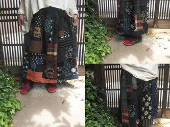 古布リメイク☆藍染めや絣でパッチスカート☆楽しくカッコいいおとな女子に♪の画像