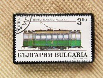 アップサイクル 鉄道切手ブローチ 6163の画像