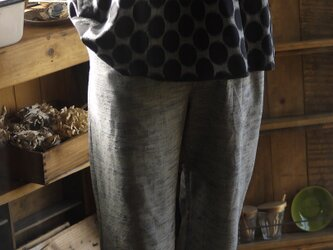 久留米絣水玉ギャザー切り替えのフレンチスリーブトップスの画像