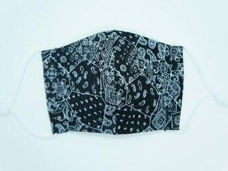 【ダブルガーゼの立体布マスク】《子ども用》バンダナ柄・ブラックの画像