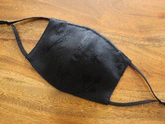 お花の刺繍布マスク【M size ブラック】の画像