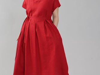 【wafu】中厚 リネン ワンピース 着物衿 禅 和装 ミモレ丈 半袖 リネン100%/レッド a084d-red2の画像