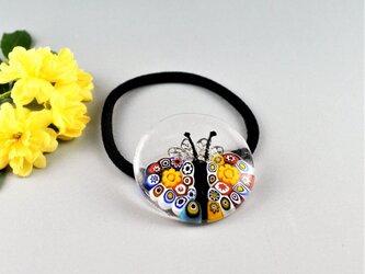 小さなミルフィオリの蝶々の髪飾りヘアゴム)の画像