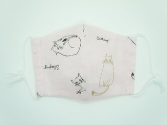 【ダブルガーゼの立体布マスク】《子ども用》猫・ピンクの画像