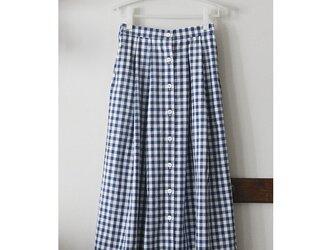 【sale】ギンガムチェックのスカート 前ボタン ライトネイビー(M)の画像