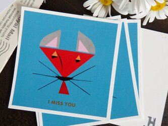 封筒付き正方形カード『I MISS YOU』5枚セットの画像