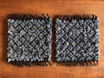 裂き織りコースター*2枚セット -denim01-の画像