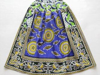 【カンガのヨーク付きスカート】ブルーフラワーの画像