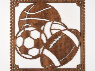 ビッグウッドフレーム「ボールスポーツ」(木の壁飾り)の画像