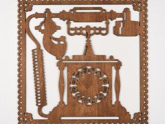 ビッグウッドフレーム「アンティークフォン」(木の壁飾り)の画像