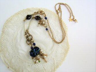 {necklace}ヴィンテージブルー×淡水パールの画像