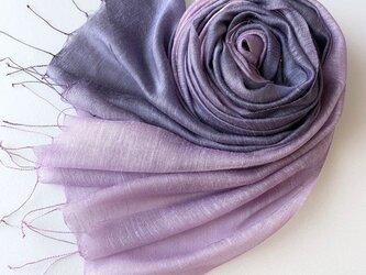 艶めく大判シルク*深紫色×薄葡萄*ストールの画像
