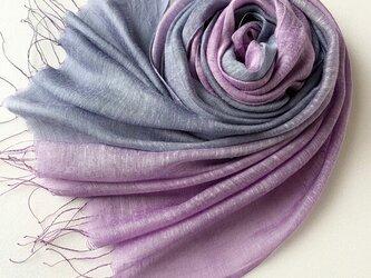 大人パープル*艶めく大判シルク*深紫色×薄葡萄*ストールの画像
