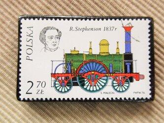 アップサイクル 鉄道切手ブローチ 6166の画像