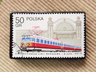 アップサイクル 鉄道切手ブローチ 6168の画像
