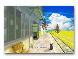 「今日も待ちぼうけ・・・」 ほっこり癒しのイラストポストカード2枚組 No.1062の画像