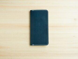 牛革 iPhoneSE2 カバー  ヌメ革  レザーケース  手帳型  ネイビーカラーの画像